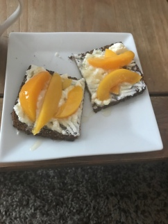 Rye Bread with Peaches & Ricotta